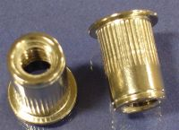 1/4-28 Ribbed Rivet Nut, Large Flange